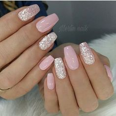 French Nails With Glitter The holidays are filled reasons to party, which means ample opportunity to deck your digits with jolly with Great Art Of Fashion With Classy Holiday Nails Picture Credit Pink Gel Nails, Glitter Accent Nails, Light Pink Nails, Fun Nails, Pretty Nails, Silver Glitter, Glitter Gel, Gel Manicures, Cute Pink Nails