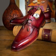 Paul Parkman Goodyear Welted Square Toe Apron Derby Shoes Brown (ID Me Too Shoes, Men's Shoes, Shoes Men, Gentleman Shoes, Painting Leather, Derby Shoes, Goodyear Welt, Luxury Shoes, Oxford Shoes