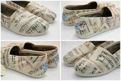 Adult Custom Painted TOMS Shoes Musical Notes by ibleedheART