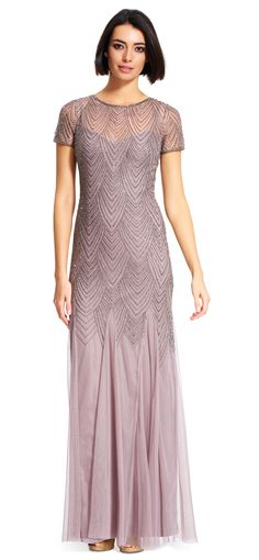 Short Sleeve Beaded Gown - Adrianna Papell
