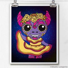 Dia De Los Muertos Cucuy Folkorico by StudioLongoria on Etsy, $10.00