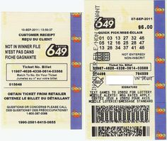 6 49 Lotto Ticket Provide fortune a chance, play the lottery to win.