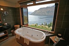 2. Azur   Queenstown, New Zealand  A bathroom which is stupendous and huge with an amazing bathtub overlooking... read more