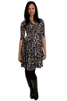 Kaitlyn Leopard Print Wrap Dress by Everly Grey | Maternity Clothes   Best selection of professional maternity clothes! available at Due Maternity www.duematernity.com