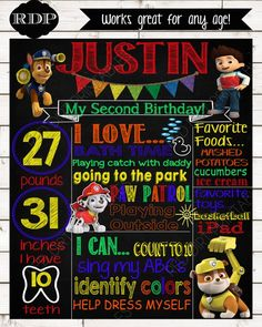 WELCOME to Red Dirt Printables!    This listing is for a personalized birthday chalkboard sign. (DIGITAL FILE ONLY)    Your poster can be fully customized with your little one's details. These chalkboard signs make great photo props and add a personalized touch to your little one's birthday celebration!    Watermark / shop name will not appear on final image.    Please CAREFULLY read the points below before purchasing!    -ALL ITEMS in my shop are DIGITAL FILES ONLY.  - No physical…