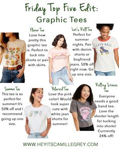 Friday Top Five Edit: Graphic Tees | Hey Its Camille Grey #graphictee #summer #roolee #tees #fashion