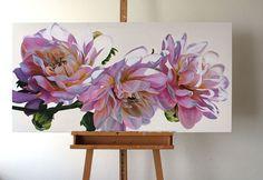 Dahlias by Freya Powell Oil Painting Flowers, Watercolor Flowers, Painting & Drawing, Watercolor Paintings, Botanical Art, Large Art, Art Oil, Painting Inspiration, Flower Art