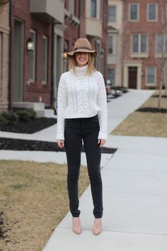 Neutrals #sweater #jeans #hat #nude #heels