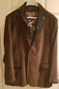 1da31d3bcf1 Coolest Robert Graham Sport Jacket Size 44 removable suede denim  collar lapel.