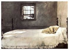 Andrew Wyeth 'Master Bedroom' Andrew Wyeth [American realist painter, Taught by his father artist and illustrator N. Andrew's son, Jamie Wyeth, is part of the third generation of Wyeth artists. Andrew Wyeth Prints, Andrew Wyeth Paintings, Andrew Wyeth Art, Jamie Wyeth, Bedroom Frames, Bedroom Posters, Bedroom Prints, Bedroom Art, Master Bedrooms