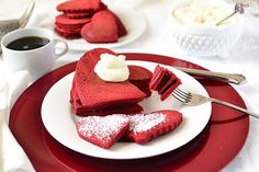 Red Velvet Pancakes with Sweet Cream Cheese Topping (from Recipe Girl)