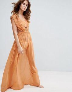 ASOS Gathered Ruched Chiffon Maxi Beach Dress