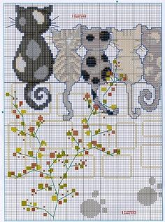 Cats.. Cross-stitching pattern.. Part 1.. color chart on Part 2