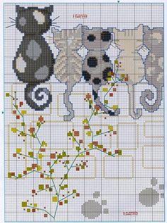 Cats. Cross-stitching pattern. Part 1