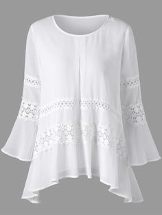 Lace Insert Bell Sleeve Sheer Blouse A site with wide selection of trendy fashion style women's clothing, especially swimwear in all kinds which costs at an affordable price. Sewing Dresses For Women, Bluse Outfit, Design Textile, Sewing Blouses, Trendy Fashion, Womens Fashion, Fashion Sale, Lace Insert, Blouse Online