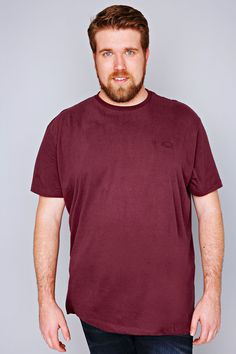 b0dbe489b20e BadRhino Burgundy Basic Plain Round Neck T-Shirt- TALL Big And Tall T Shirts