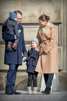 Crown Princess Victoria Prince Daniel Princess Estelle and Prince Oscar celebrate the Name Day ceremony of the Crown Princess at the inner square of...