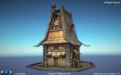Tutorial book's House modeling, JongMin Lim on ArtStation at https://www.artstation.com/artwork/mO5xv