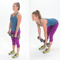 Romanian Deadlifts Stand upright holding a pair of medium-weight dumbbells in each hand, arms at your sides, with your knees slightly bent. Keeping your arms straight and knees slightly bent, slowly bend at the hips (not your waist) and lower the weights as far as possible without rounding your back, which should remain straight. Now squeeze your glutes to slowly pull yourself up (don't use your back). Do three sets of 12 reps.