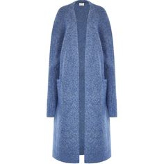 Acne Studios Raya Blue Mohair Blend Cardigan - Size L (6.920 ARS) ❤ liked on Polyvore featuring tops, cardigans, open front cardigan, drop-shoulder tops, cardigan top, blue top and open front tops