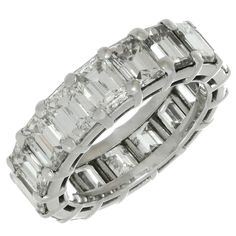 Graff Shared Setting Diamond Platinum Eternity Band Ring    From a unique collection of vintage band rings at https://www.1stdibs.com/jewelry/rings/band-rings/