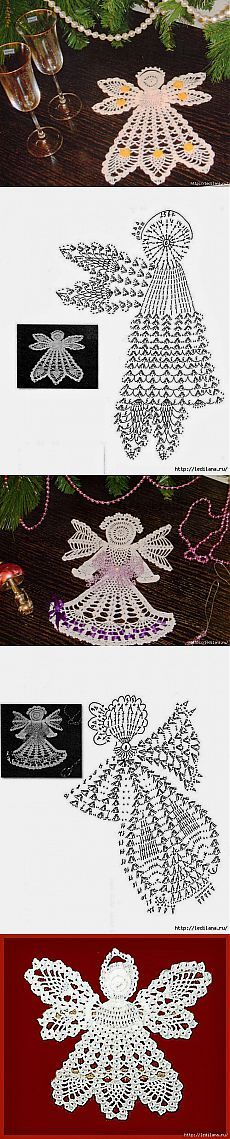 Вязание крючком. Ангелочки. Crochet Christmas Ornaments, Holiday Crochet, Crochet Snowflakes, Crochet Home, Christmas Angels, Christmas Christmas, Dishcloth Knitting Patterns, Crochet Patterns, Knit Dishcloth