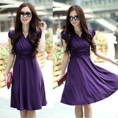 Women Silk V Neck Short Sleeve Casual Empire Waist Dress. Like that this dress can be casual or dressed up. And like the cut - empire waist dresses tend to be flattering on me.