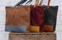 WAXED CANVAS and leather TOTE bag camel / Leather by ikabags