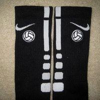 VOLLEYBALL Custom Nike Elite Socks Black w/ White Stripe. WANT THESE!