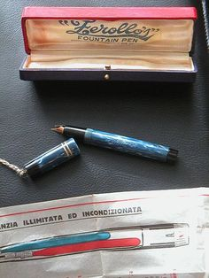 The Zerollo Duo Color is one of the most sought after of vintage fountain pens; its design is unique, and uniquely complex. The Zerollo is two pens in one. Turning the end knob in one direction extends one nib and retracts the other; turning it the other way reverses the action. Each nib is attached to its own sac and filling mechanism, so two different colors of ink can be used.