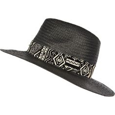 Black straw Panama hat with zebra print trim - Hats - Accessories - women e01219314f61