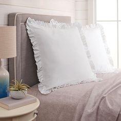 Better Homes & Gardens Raw Edge Ruffle Euro Pillow Sham, 1 Each, White Dorm Design, Ruffle Pillow, Cheap Pillows, Euro Pillow, Euro Pillow Shams, Bed Pillows, Bed Pillow Sizes, Ruffle Comforter, Big Pillows