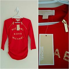 49✂Michael Kors Logo Printed Red Blouse PRICE IS FIRM!! (Seeon TITLE) This is the lowest of the lowest I can do!! Moving SOON, Trying to DOWNSIZE ➖➖➖➖➖➖➖➖➖  ✨N-W-T✨ Never been worn before  ⏩Flatter your figures with the ruched styles of this zipper shoulder top ⏩Three-quarter sleeve, crew neck ⏩Figure-hugging side ruching, slim cut ⏩Fitted silhouette, stretchy material, so comfortable and stunning! ⏩A Michael Kors logo adds an iconic touch that lends fashion-forward flair to this everyday…