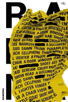 전주국제영화제 [100 Films,100Posters] - 'RAMONA' - WORKS SERVICES Typography Poster Design, Graphic Poster, Art Design, Inspiration, Print Design, Editorial Design, Illustration Design, Visual Design, Typography Poster
