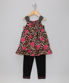 Take a look at this Brown Leopard Heart Tunic & Leggings - Infant, Toddler & Girls on zulily today!
