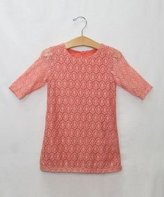 Look at this #zulilyfind! Coral Lace Sheath Dress - Toddler & Girls by Sweet Charlotte #zulilyfinds
