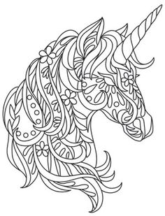 Fun floral shapes add to the whimsy of this bohemian unicorn. Downloads as a PDF. Use pattern transfer paper to trace design for hand-stitching.