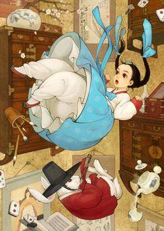 Korean Alice newmodernhanbok: Illustrators 흑요석 http://blog.naver.com/obsidian24