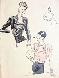 1940s Beautiful Draped Square Neckline Blouse Pattern Vogue 5918 Film Noir Style Tuck In Blouse Day or Evening Bust 32 Vintage Sewing Pattern
