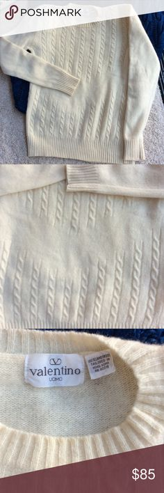 """Valentino lambs wool sweater, M/L Cream colored with pattern front, plain back. No size tag. Made in Hong Kong (tailored)!  Shoulder 16-1/2"""", pit across 20"""", 25"""" long. Valentino Sweaters Crew & Scoop Necks"""