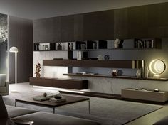 Mueble modular de pared composable con luces integradas TAO10 by MisuraEmme diseño Mauro Lipparini