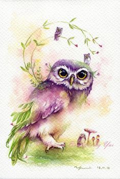 "PRINT – Sweetie Owl Watercolor painting 7.5 x 11"" The artwork print reproduction of my Original Watercolor painting. Printed area: 7.5 x 11"
