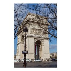 Arc de Triomphe in Paris France Poster Travel Wall Decor, Custom Posters, Postcard Size, Paris France, To Go, Gift Ideas, Vacation, Places, Image