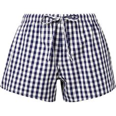 Sleepy Jones The Paloma gingham cotton pajama shorts ($70) ❤ liked on Polyvore featuring intimates, sleepwear, pajamas, navy, sleepy jones pajamas, long pajamas, cotton pajamas, sleepy jones and navy blue slip