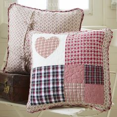 Sewing Cushions Red Shaker Heart Patchwork Cushion Cover NEW NEW NEW - High quality and beautiful bedding covers, duvets, sheets and pillow cases for zen mood in your bedroom. Applique Cushions, Patchwork Cushion, Sewing Pillows, Quilted Pillow, Patchwork Heart, Patchwork Ideas, Decorative Cushions, Scatter Cushions, Vintage Cushions