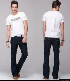 Mens jeans boot cut leg slightly flared slim fit famous brand blue black male jeans designer classic denim Jeans-in Jeans from Men's Clothing & Accessories on Aliexpress.com | Alibaba Group