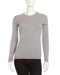 Cashmere Crewneck Long-Sleeve Sweater, Gray by Neiman Marcus at Neiman Marcus Last Call.