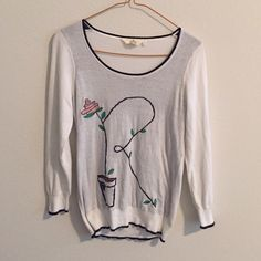 Anthropologie Cheri Monogrammed pullover - R Anthropologie Cheri Monogrammed pullover with letter R. The details are absolute adorable with embroidered flower and leaves and soil. In excellent, like-new condition as it is hardly worn. Anthropologie Sweaters Crew & Scoop Necks