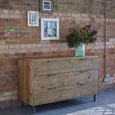 Baxter Round Industrial Four Drawer Chest. Our versatile Baxter chest of drawers, made from reclaimed pine and antiqued metal, combines an industrial feel with a simple design which can lend itself to any room in your home.