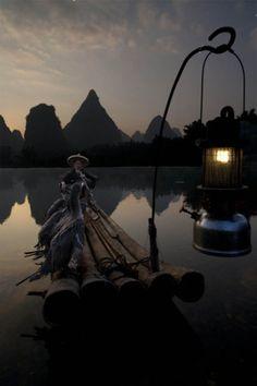 fisherman in Lijiang river, China